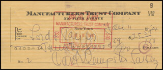 CAROL DEMPSTER - AUTOGRAPHED SIGNED CHECK 01/11/1961