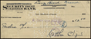KATHLEEN CLIFFORD - AUTOGRAPHED SIGNED CHECK 05/09/1927