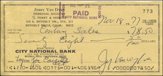 JERRY VAN DYKE - AUTOGRAPHED SIGNED CHECK 11/18/1977