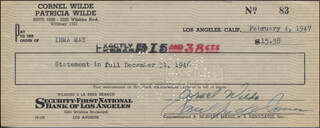 CORNEL WILDE - AUTOGRAPHED SIGNED CHECK 02/04/1947