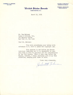 GOVERNOR HERBERT H. LEHMAN - TYPED LETTER SIGNED 03/19/1954