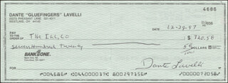 DANTE GLUEFINGERS LAVELLI - AUTOGRAPHED SIGNED CHECK 12/29/1997