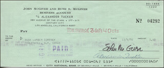 JOHN McGIVER - AUTOGRAPHED SIGNED CHECK 12/09/1970