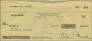 DAVID NIVEN - AUTOGRAPHED SIGNED CHECK 09/10/1959