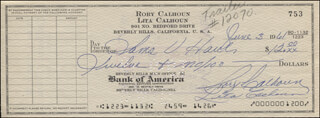 RORY CALHOUN - AUTOGRAPHED SIGNED CHECK 06/03/1961 CO-SIGNED BY: LITA BARON CALHOUN