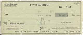 DAVID JANSSEN - AUTOGRAPHED SIGNED CHECK 03/26/1973