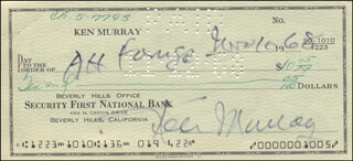 KEN MURRAY - AUTOGRAPHED SIGNED CHECK 11/10/1968