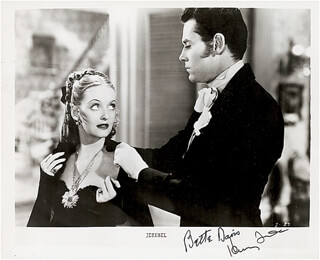 JEZEBEL MOVIE CAST - PRINTED PHOTOGRAPH SIGNED IN INK CO-SIGNED BY: HENRY FONDA, BETTE DAVIS