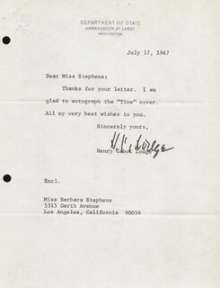 HENRY CABOT LODGE JR. - TYPED NOTE SIGNED 07/17/1967