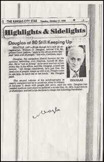 ASSOCIATE JUSTICE WILLIAM O. DOUGLAS - NEWSPAPER ARTICLE SIGNED  - HFSID 345924