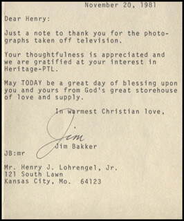 JIM (JAMES ORSON) BAKKER - TYPED CARD SIGNED 11/20/1981  - HFSID 345926