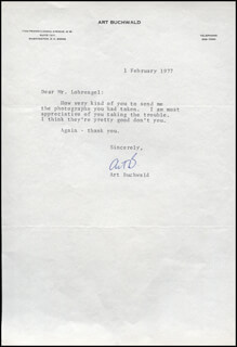 ART BUCHWALD - TYPED LETTER SIGNED 02/01/1977