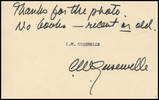 C.W. GUSEWELLE - AUTOGRAPH SENTIMENT SIGNED
