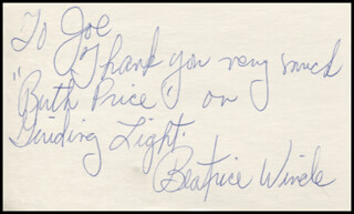 BEATRICE WINDE - AUTOGRAPH NOTE SIGNED