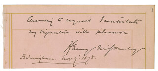 HENRY M. STANLEY - AUTOGRAPH SENTIMENT SIGNED 11/07/1878