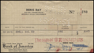 Autographs: DORIS DAY - CHECK SIGNED 05/16/1951 CO-SIGNED BY: JEROME BERNARD ROSENTHAL