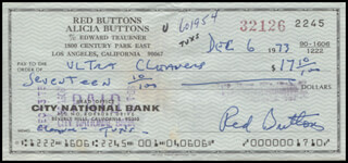 RED BUTTONS - AUTOGRAPHED SIGNED CHECK 12/06/1973