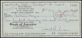 DAVID HEDISON - AUTOGRAPHED SIGNED CHECK 10/31/1970