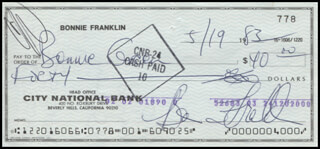 BONNIE FRANKLIN - AUTOGRAPHED SIGNED CHECK 05/19/1983
