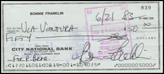 BONNIE FRANKLIN - AUTOGRAPHED SIGNED CHECK 06/21/1983