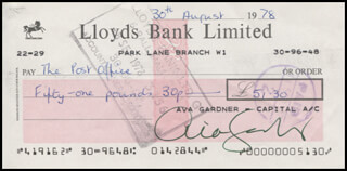 AVA GARDNER - AUTOGRAPHED SIGNED CHECK 08/30/1978