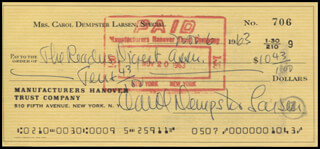 CAROL DEMPSTER - AUTOGRAPHED SIGNED CHECK 11/06/1963