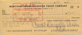 CAROL DEMPSTER - AUTOGRAPHED SIGNED CHECK 04/02/1963