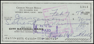 CHARLES NELSON REILLY - AUTOGRAPHED SIGNED CHECK 02/07/1978