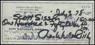 CHARLES NELSON REILLY - AUTOGRAPHED SIGNED CHECK 07/03/1978