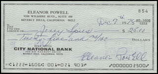 ELEANOR POWELL - AUTOGRAPHED SIGNED CHECK 12/07/1978