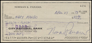 NORMAN PANAMA - AUTOGRAPHED SIGNED CHECK 04/27/1973