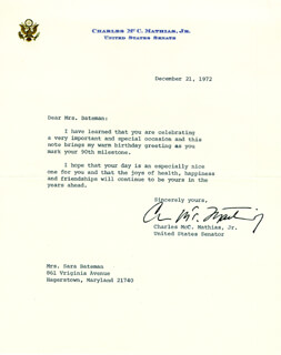 CHARLES M. MATHIAS JR. - TYPED LETTER SIGNED 12/21/1972