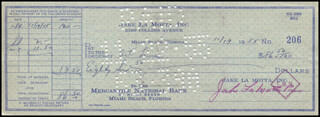 JAKE THE RAGING BULL LA MOTTA - AUTOGRAPHED SIGNED CHECK 11/19/1955