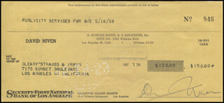 DAVID NIVEN - AUTOGRAPHED SIGNED CHECK 05/18/1959