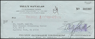 TELLY SAVALAS - AUTOGRAPHED SIGNED CHECK 12/01/1977