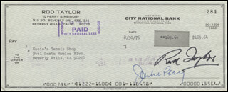 ROD TAYLOR - AUTOGRAPHED SIGNED CHECK 08/30/1976
