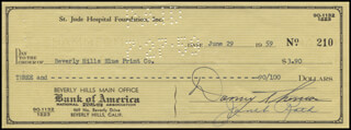 DANNY THOMAS - AUTOGRAPHED SIGNED CHECK 06/29/1959
