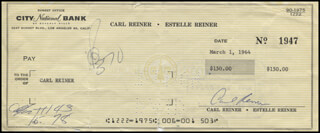 CARL REINER - CHECK SIGNED & ENDORSED 03/01/1964