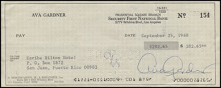 AVA GARDNER - AUTOGRAPHED SIGNED CHECK 09/25/1968