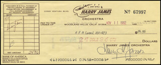 HARRY JAMES - AUTOGRAPHED SIGNED CHECK 11/11/1982