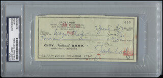 JACK LORD - AUTOGRAPHED SIGNED CHECK 06/02/1962