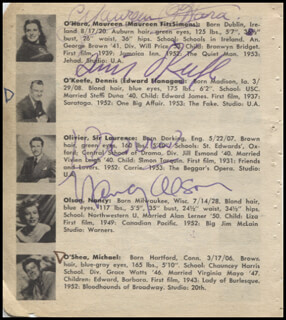 MAUREEN O'HARA - BOOK PAGE SIGNED CO-SIGNED BY: NANCY OLSON, DENNIS O'KEEFE, LAURENCE OLIVIER, EDMOND O'BRIEN, DONALD O'CONNOR, MARGARET O'BRIEN, PAT O'BRIEN