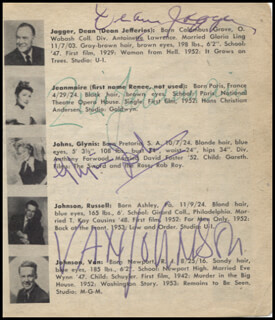 DEAN JAGGER - BOOK PAGE SIGNED CO-SIGNED BY: HOWARD KEEL, ZIZI JEANMARIE, GLYNIS JOHNS, LOUIS JOURDAN, KATY JURADO, VAN JOHNSON, DANNY KAYE