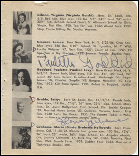 PAULETTE GODDARD - BOOK PAGE SIGNED CO-SIGNED BY: FARLEY GRANGER, PETER GRAVES, GLORIA GRAHAME, COLEEN GRAY