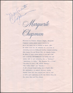 MARGUERITE CHAPMAN - BIOGRAPHY SIGNED CO-SIGNED BY: LYNNE FORRESTER