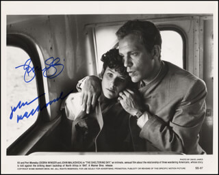 THE SHELTERING SKY MOVIE CAST - PRINTED PHOTOGRAPH SIGNED IN INK CO-SIGNED BY: JOHN MALKOVICH, DEBRA WINGER