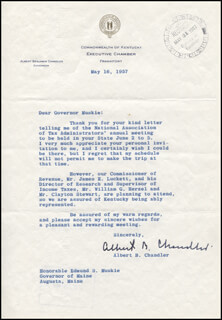 ALBERT B. HAPPY CHANDLER - TYPED LETTER SIGNED 05/16/1957