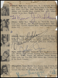 EDDIE ALBERT - INSCRIBED BOOK PAGE SIGNED CO-SIGNED BY: DAWN ADDAMS, LOUISE ALLBRITTON, JULIE ADAMS, JOHN AGAR, MARI ALDON, ANNA MARIA ALBERGHETTI