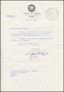 GOVERNOR ROBERT E. SMYLIE - TYPED LETTER SIGNED 03/14/1957