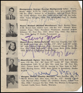 GEORGE MONTGOMERY - BOOK PAGE SIGNED CO-SIGNED BY: TERRY MOORE, DENNIS MORGAN, AGNES MOOREHEAD